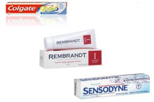 whitening colgate , rembrandt and sensodyne toothpaste